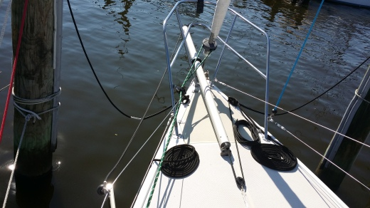 New Selden GBS Removable Bow Sprit. A Perfect Solution for Cruisers. Look at how we Remedy the Tack Line Issue!. Catalina 27.