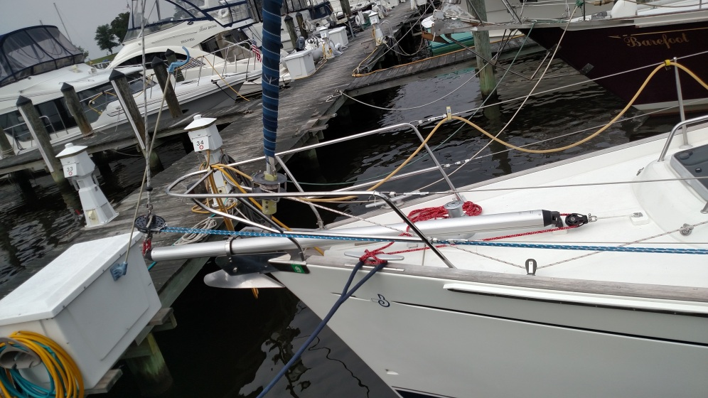 Selden removeable bow sprit and new Top Down Furler. Beneteau 50