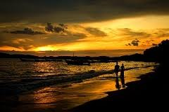 Valentines walk on the beach