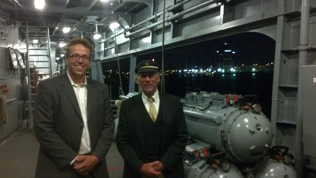 Jimmie Cockerill and Captain Paul Itzel Aboard the German Frigate FGS Hessen in Baltimore, MD