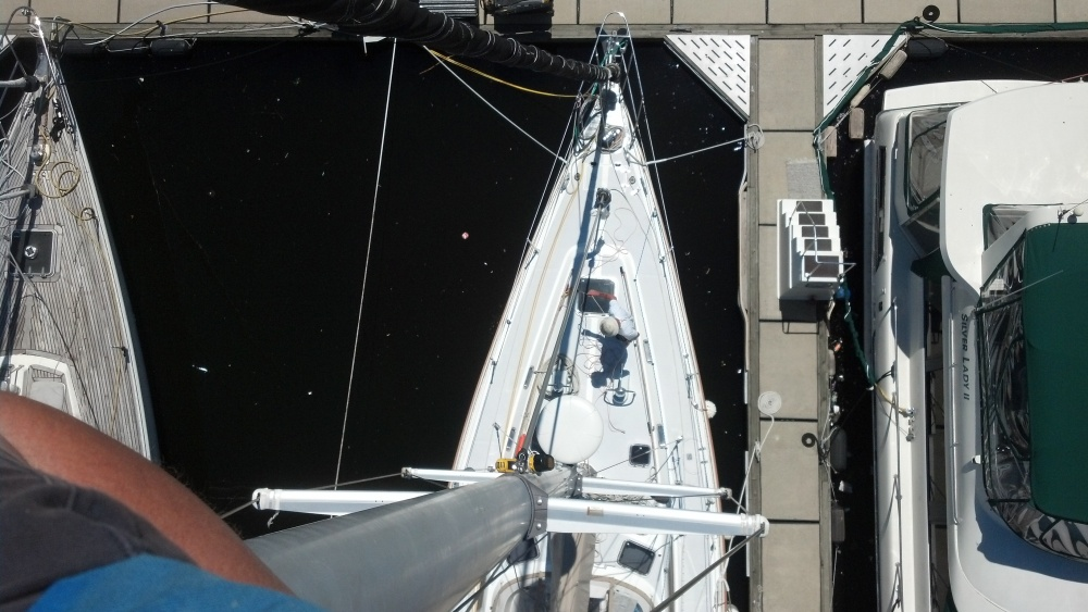 view from aloft sailboat mast