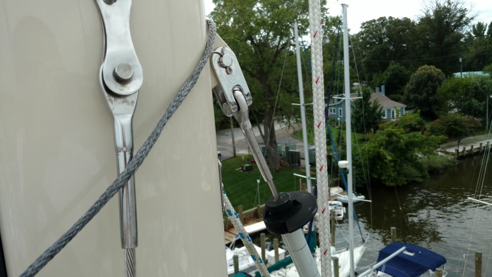 Two year old rigging and fresh paint Baba 40 aloft