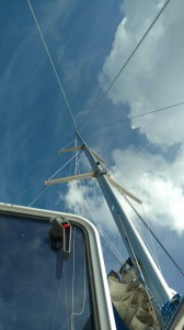 The Mast is back up and she looks ready to sail. Leopard 45. Grand Cayman. The Rigging Company