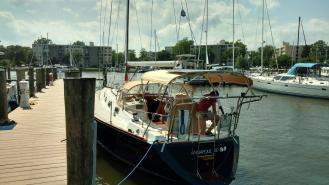 Tartan 3800 with new standing rigging. The Rigging Comapny/ Harken Hydraulics backstay system. Port Annapolis Marina.