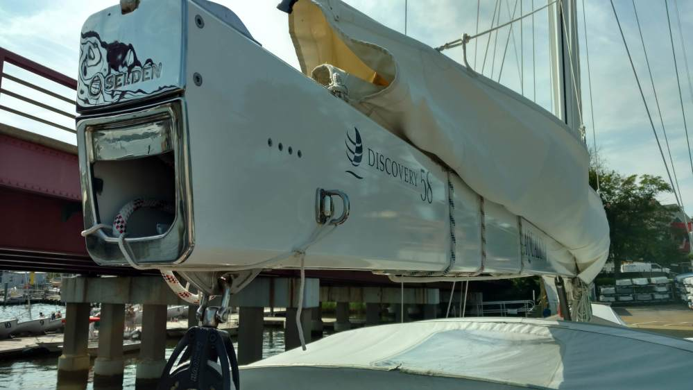 New Shuttle Block sheave, aparently this one was missing. Discovery Yachts. 56 The Rigging Company
